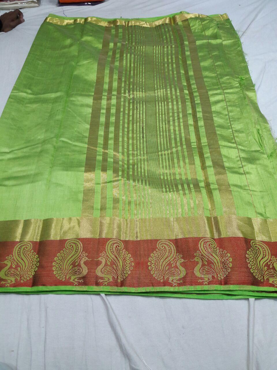 Tussar Silk Sartin Peacock Border Chitpallu Saree(With Extra Blouse)