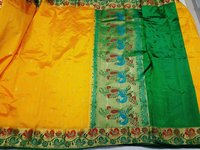 Semi Paithani Contrast Peacock Border Sarees(Design No 3)
