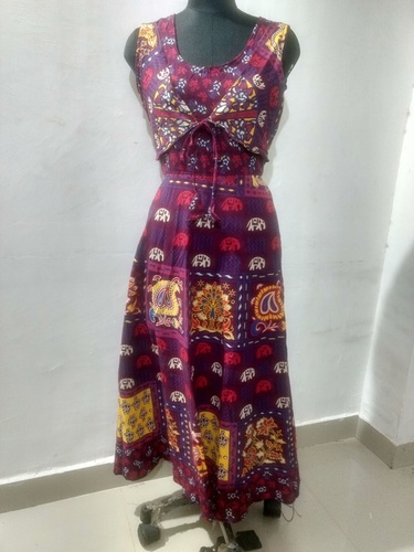 Jaipuri Animal Printed Jacket Attached Long Dress