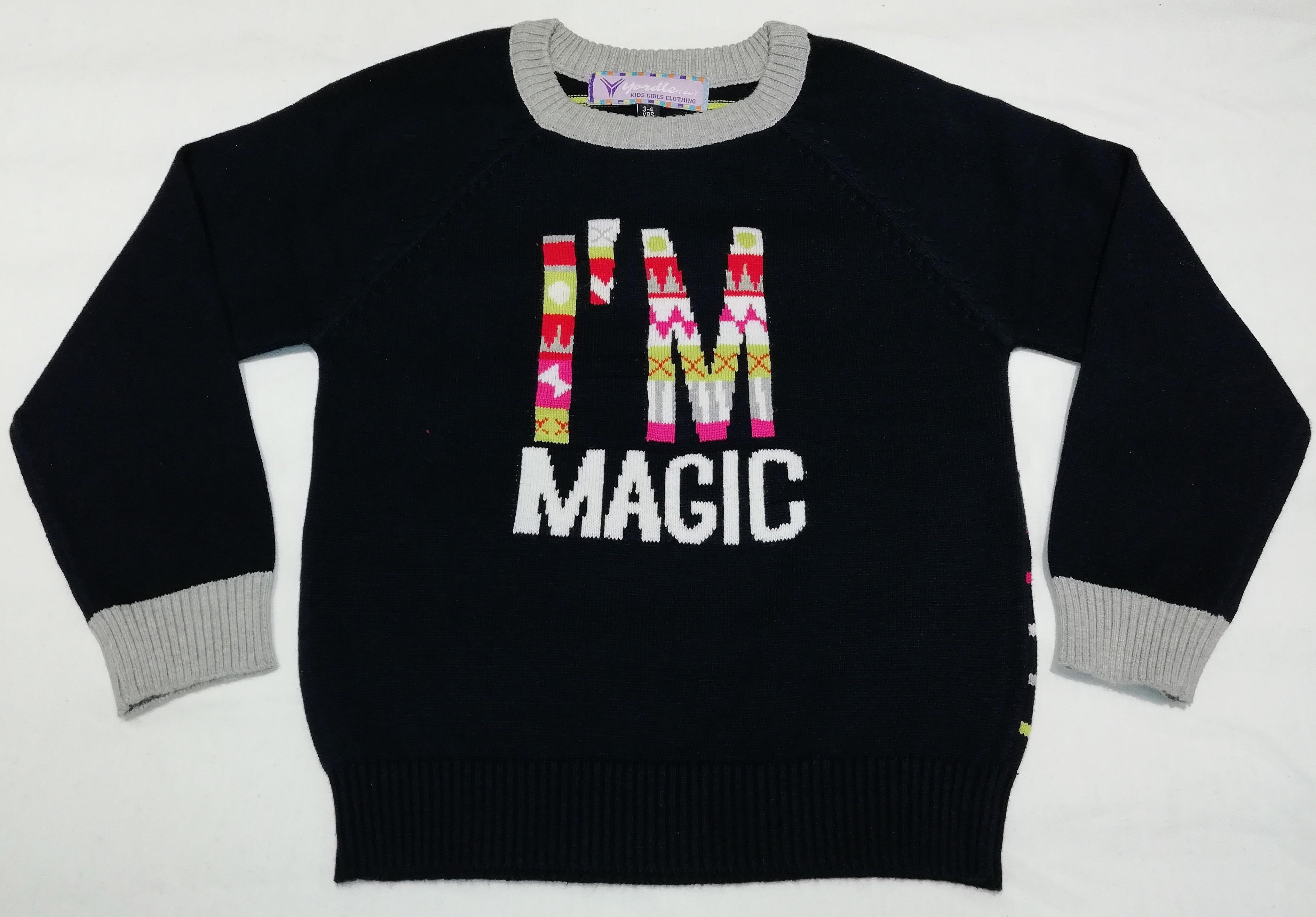 Kids Girl Intarsia Jacquard Sweater