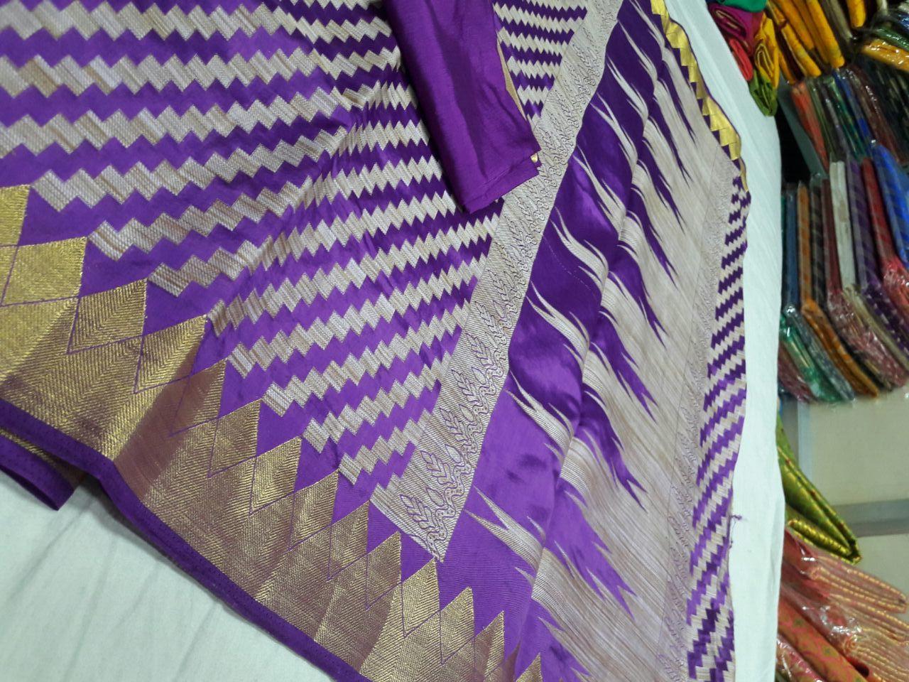 Kanchipuram Art Silk Kicha Zigzag Temple Border Saree