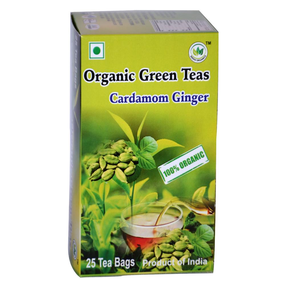 SIddhi Organics Green Tea Cardamom Ginger 25 Begs