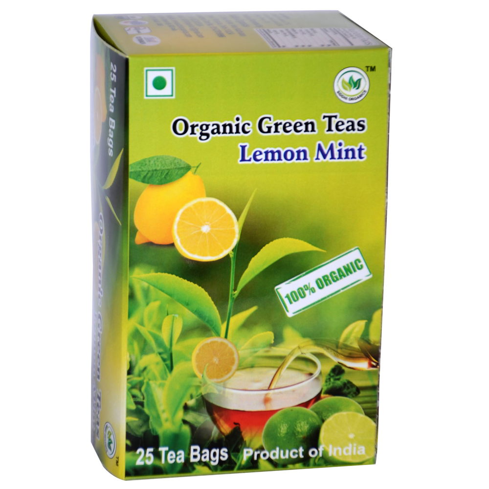 SIddhi Organics Green Tea Lemon Mints 25 Begs