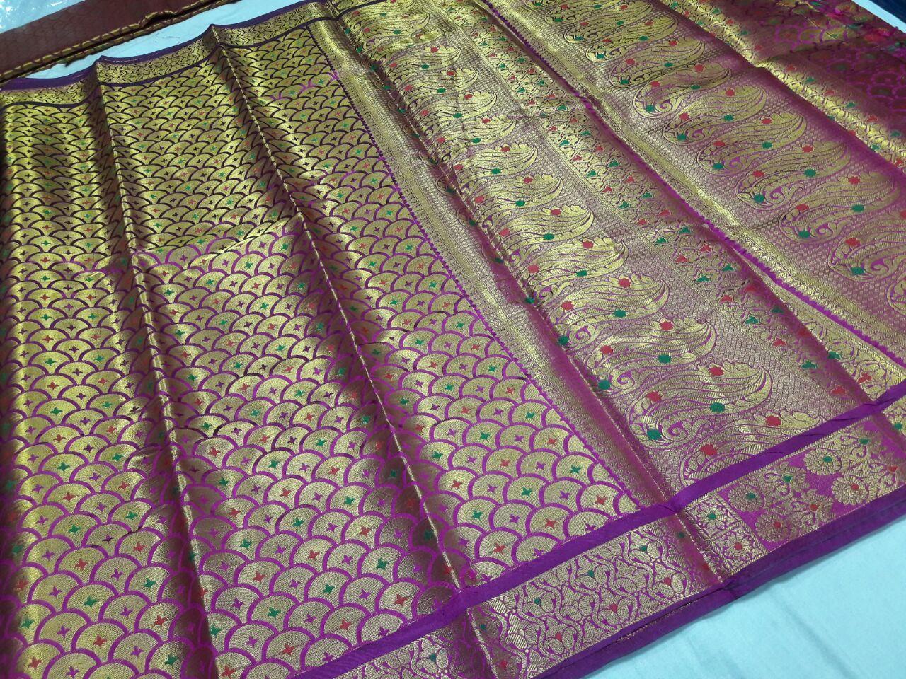 Kanchipuram Brocket Umbrella Meena Sarees
