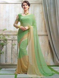Green Georgette Printed Wholesale Regular Saree
