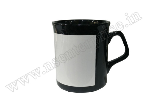10oz White Black Patch Irregular Handle Mug