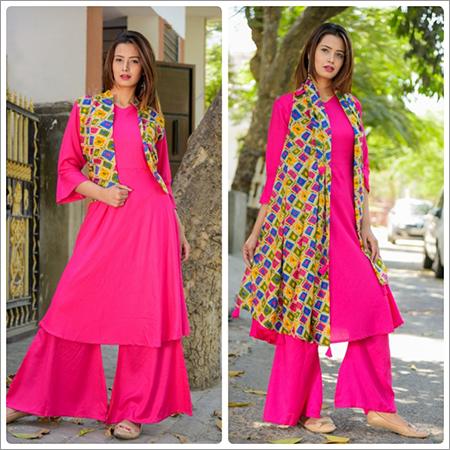 Ladies Printed Palazzo Salwar Suit