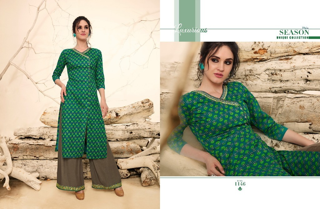 Designer Pure Cotton Long Kurti With Plazo Online