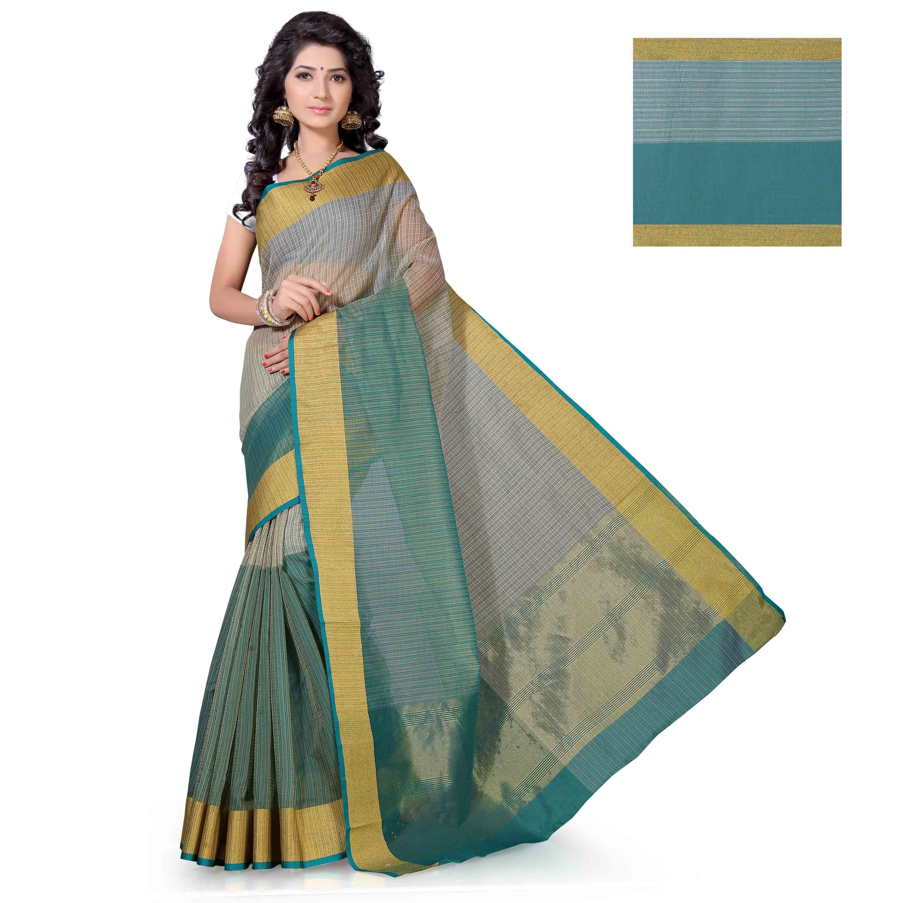 Kanchipuram Mungi Checks Half and Half Polycotton Saree