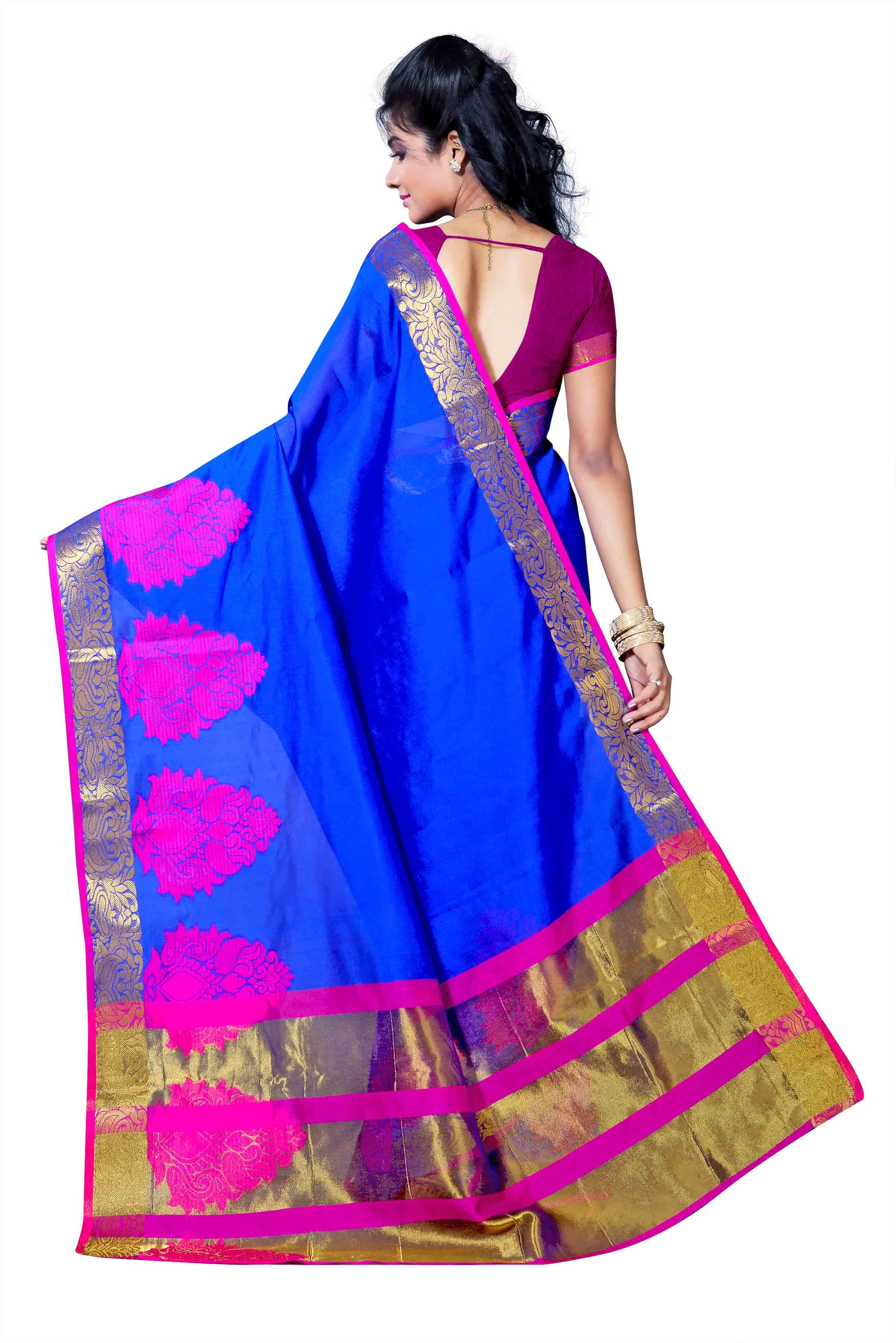 Kanchipuram Polycotton Skirt Butta Chitpallu Saree