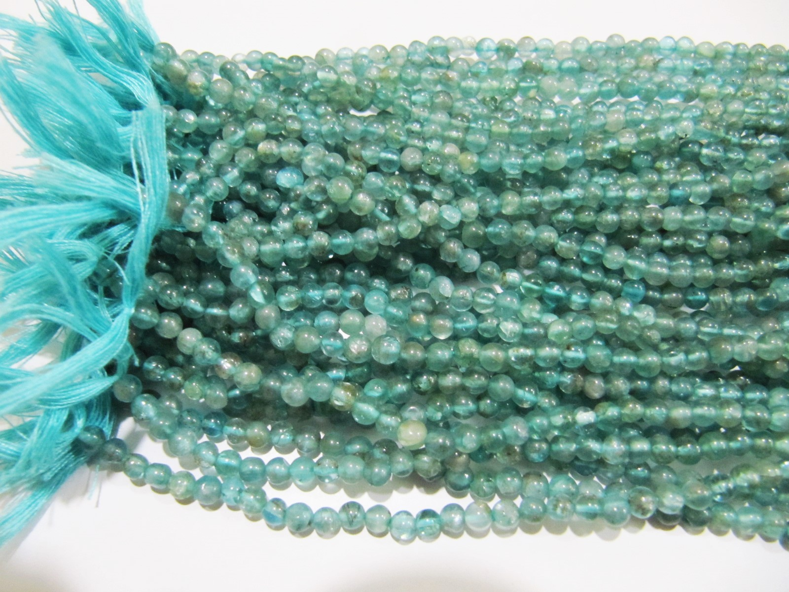 Natural Genuine Blue Apatite Round Plain Beads