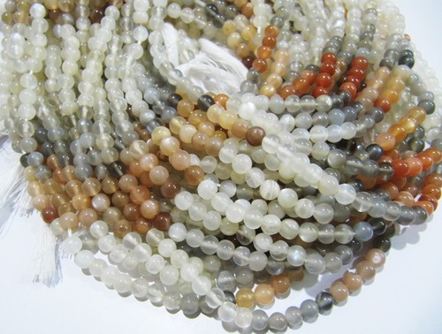 Natural Genuine Multi Moonstone Round Plain  Beads