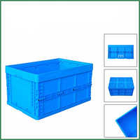 600x400x280mm 65L Durable New Design Foldable Plastic Moving EU Crates