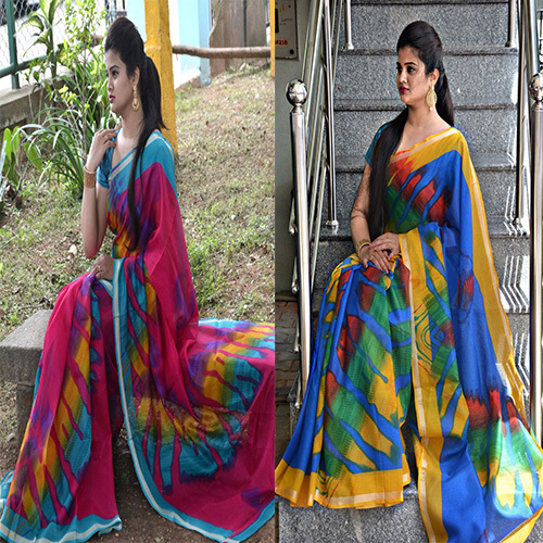 Kota Silk Satin Border Saree