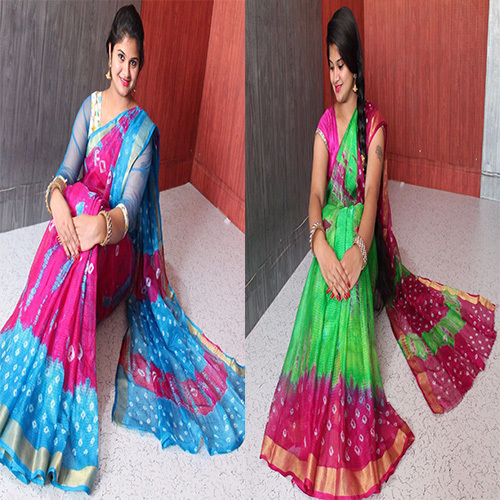 Bandhani Traditional Kota Silk Satin Border Saree
