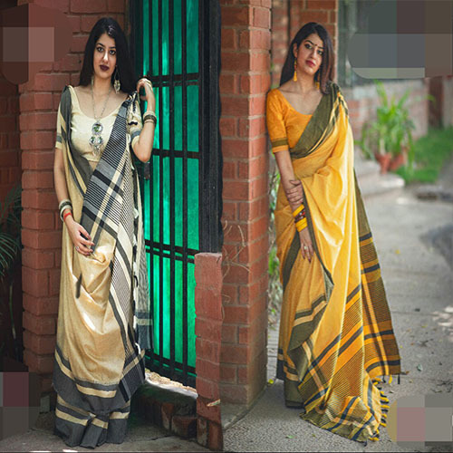 Casual Row Silk Plain Saree