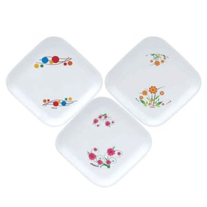 Plastic Microwave Safe Quarter PLate SQUARE PLATE PRINTED SMALL