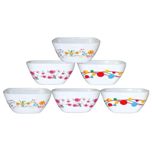 Plastic Microwave Safe Bowl Set SQUARE KATORI PRINTED