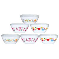 Plastic Microwave Safe Bowl Set SQUARE KATORI PRINTED