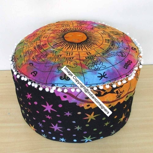 Indian Zodiac Sunsgin Pouf Cover