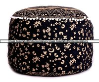 Round Indian Cotton Pouf Cover