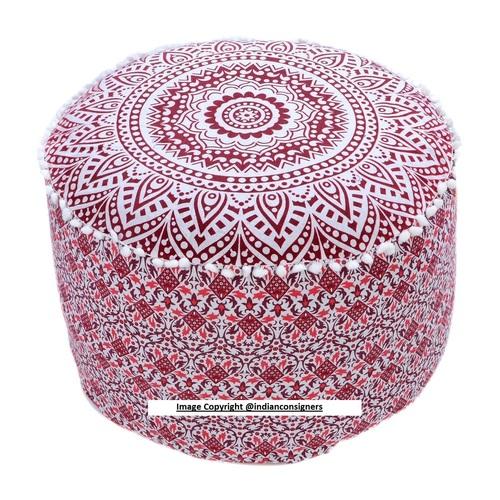Cotton Ottoman Pouffe Round Cover