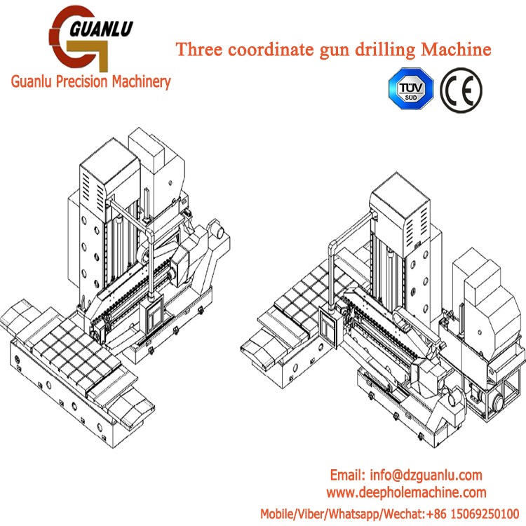 Three axis gun drilling machine for cubic workpiece