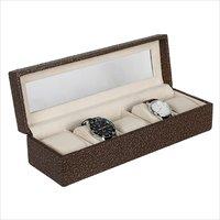 Hard Craft Golden-Brown Watch Box for 5 Watches