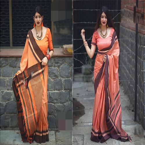 Casual Row Silk Plain Saree