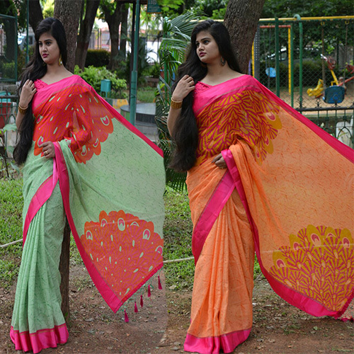 Party Wear Satin Kota Printed Saree