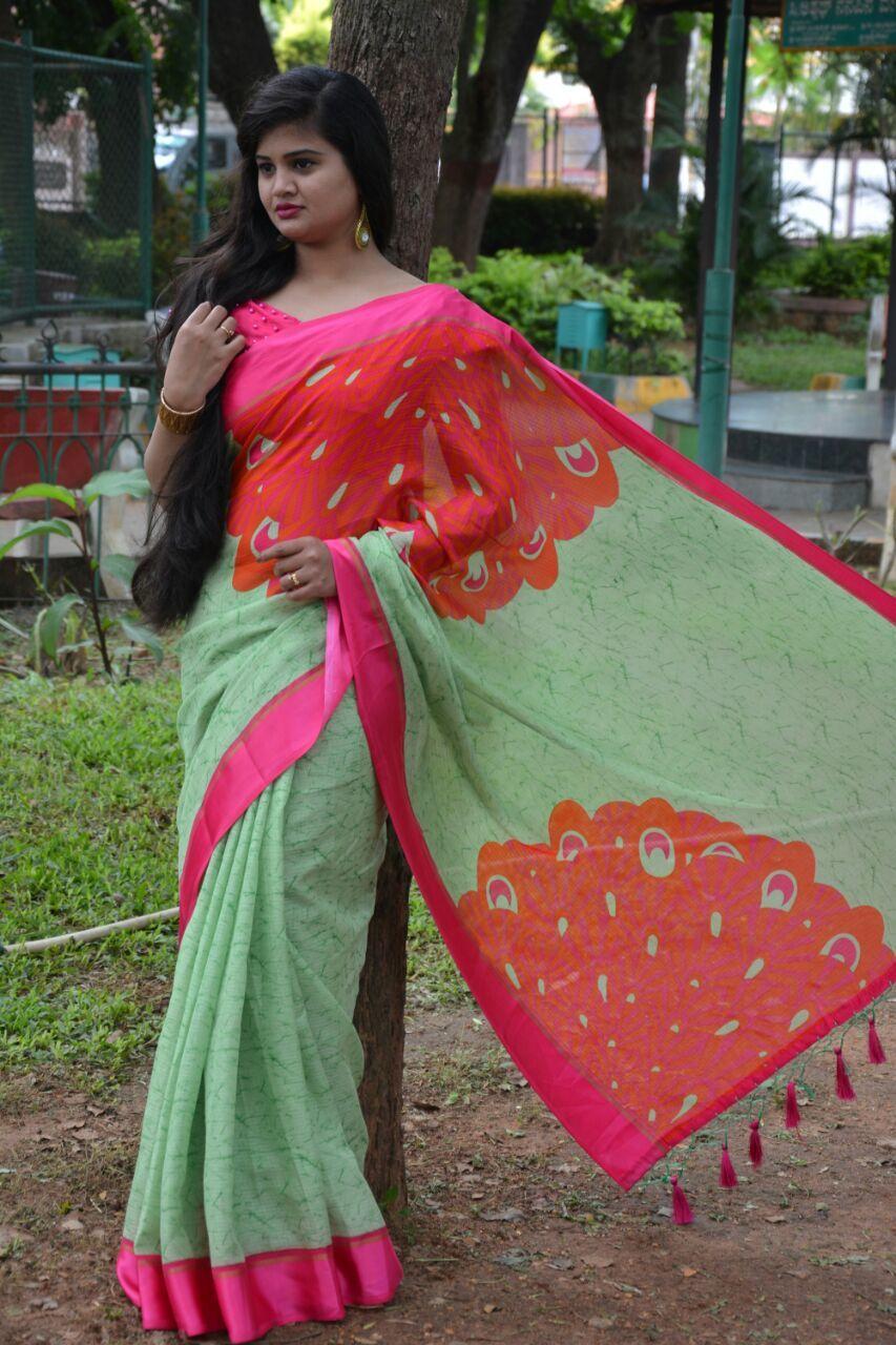 Party Wear Satin Kota Printed Saree