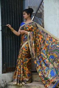 Casual Manipuri/Linen Chanderi Kalamkari Saree