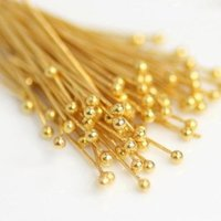 24k Gold Plated Head Pin Finding - Jewelry Finding