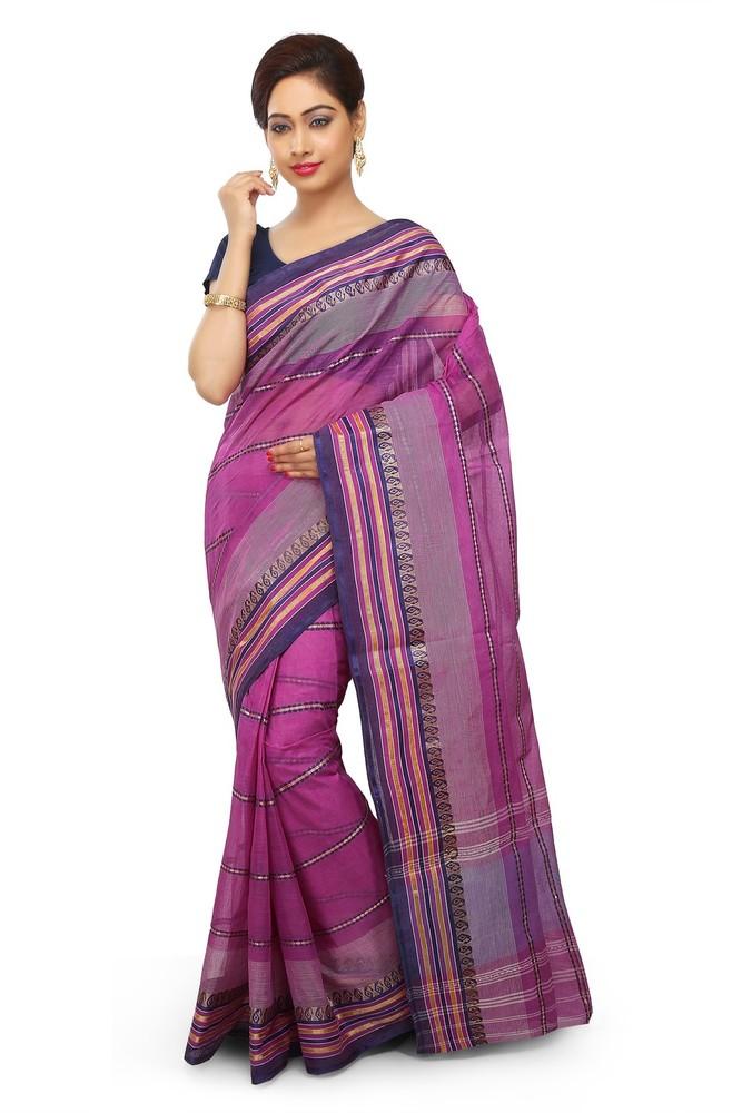 Buymyethnic Woven Tant Cotton Saree (Magenta)