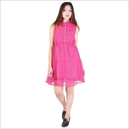 Ladies Pink One Piece Dress