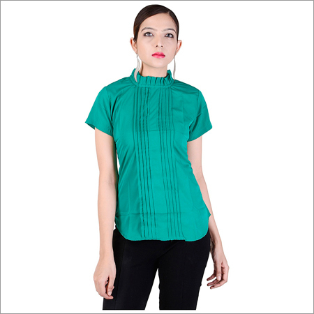 Ladies Green Crepe Shirts