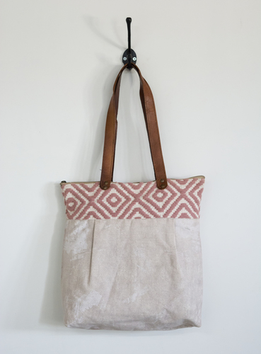 Handloom Darry and Canvas Tote Bag