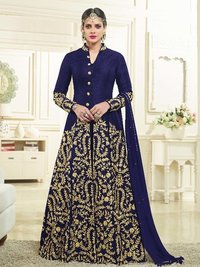 Blue Silk Embroidery Party Wholesale Pakistani Salwar Kameez