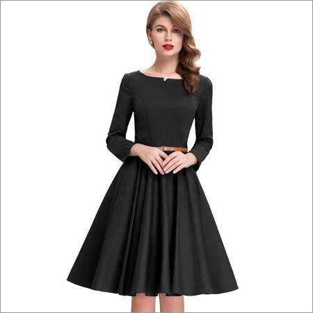 Ladies Plain Black One Piece Dress