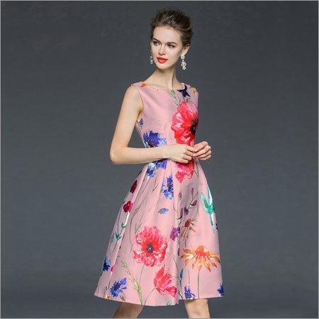Ladies Floral Print Frock Style Dress