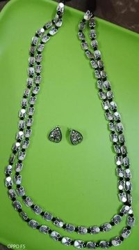 Silver Beads Necklace Set