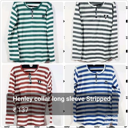 Full Sleeve Henley Collar T Shirts