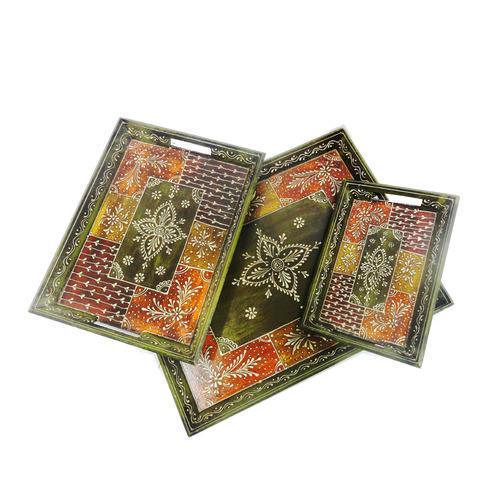 Wooden Handicraft Tray Set