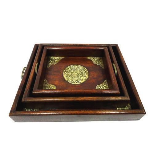 Wooden Decorative Handicraft Tray Sets