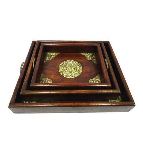 Wooden Decorative Handicraft Tray Sets