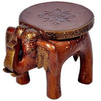 Painted Wooden Elephant Stool