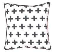 Digital Printed Geometrical Black Plus Design Cushion Cover