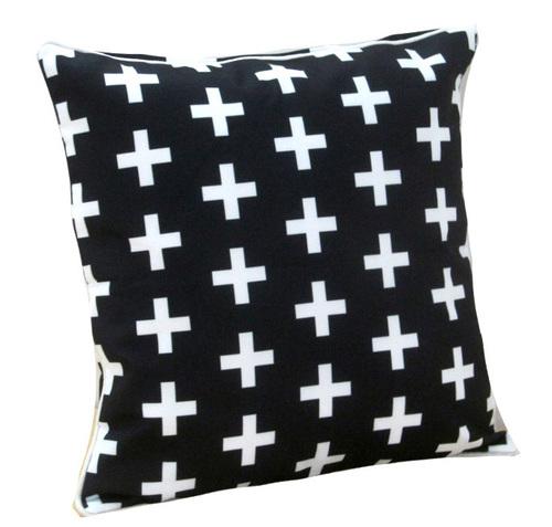 Digital Printed Geometrical White Plus Design Cushion Cover