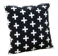 Digital Printed Geometrical White Plus Design Cushion Cover