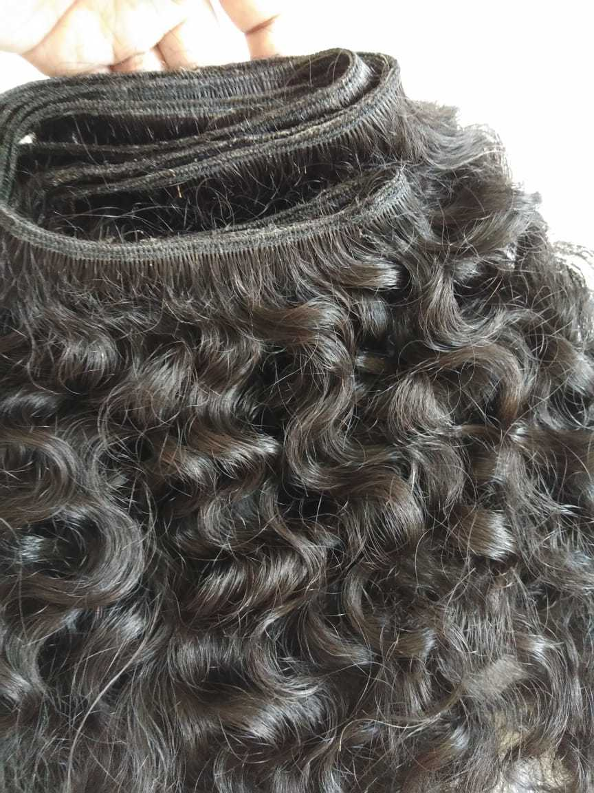 Raw Unprocessed Curly Human Hair, Cuticle aligned human hair